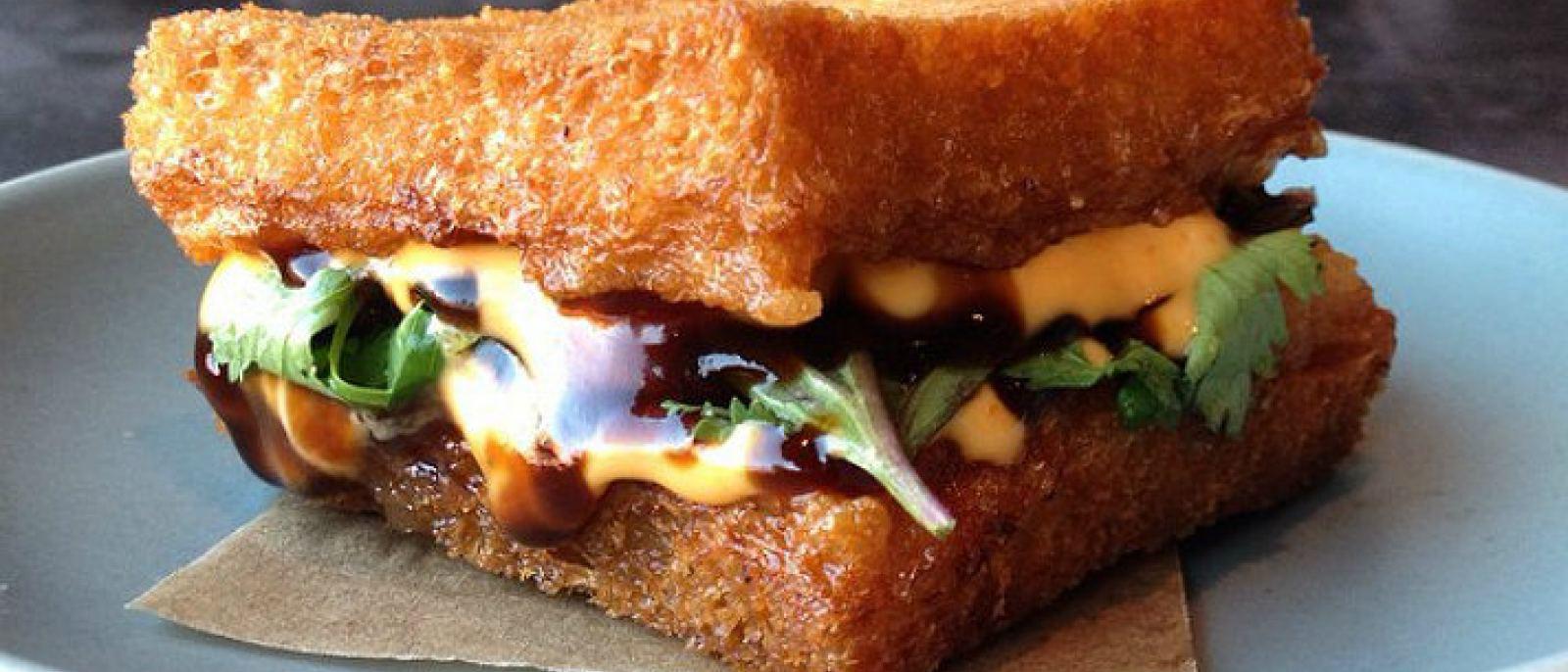 Shrimp toast sandwich at Son of a Gun   Photo: @jonandvinnydelivery, Instagram