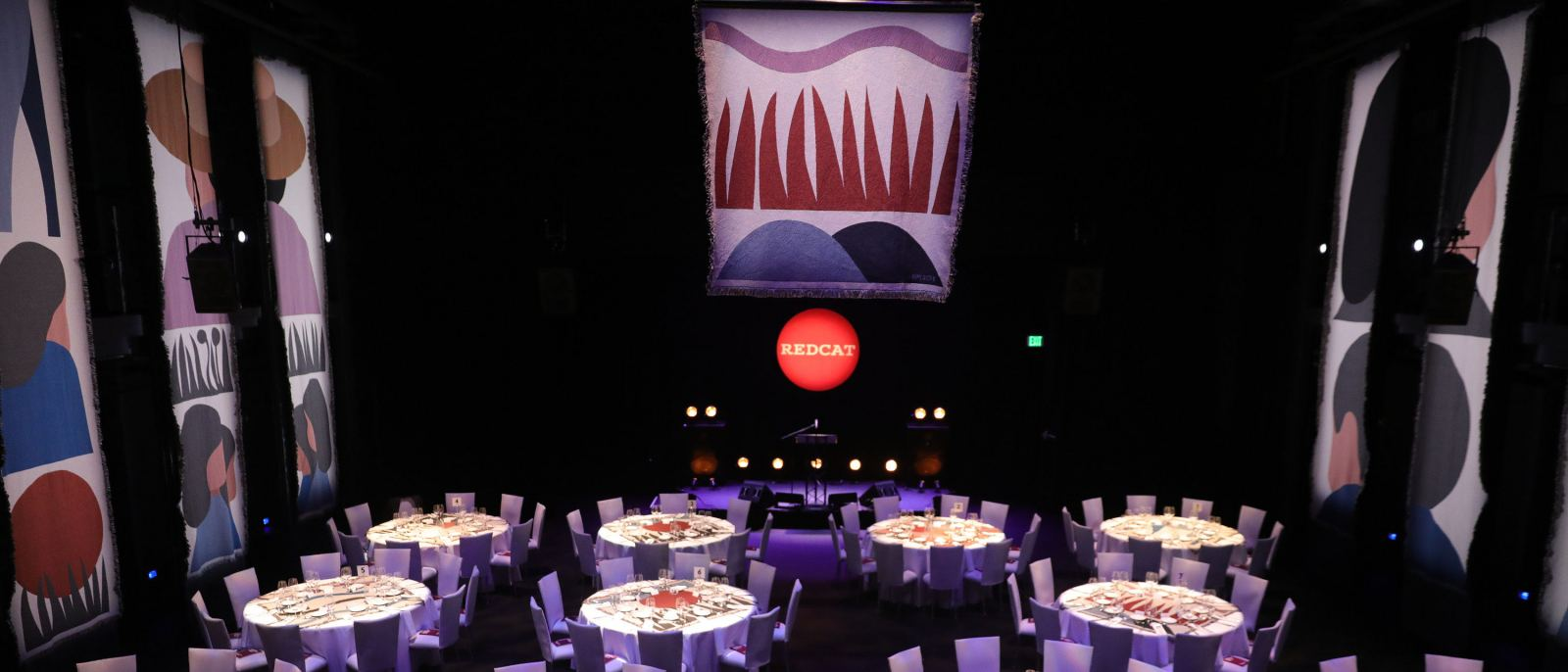 The 2018 REDCAT Gala, with custom woven art by artist Geoff McFetridge | Photo: REDCAT