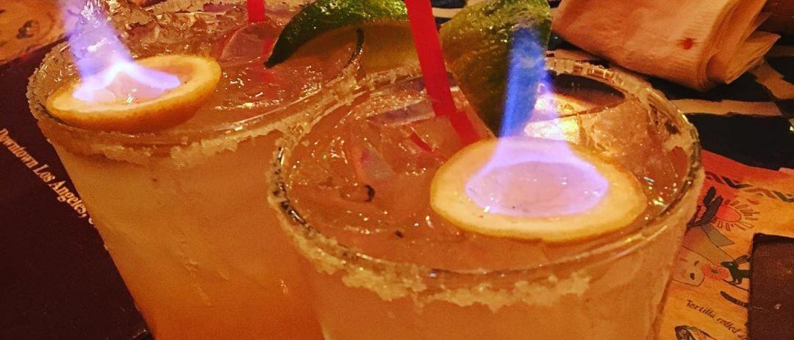 Flaming Margaritas at El Compadre