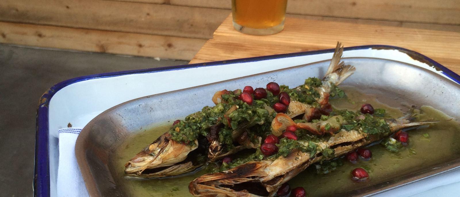 Broiled sardines at Playa Provisions