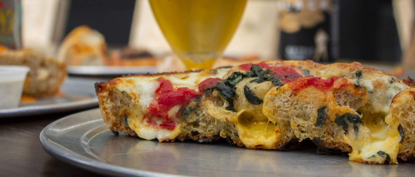 Vegan Detroit-style deep dish pizza at California Sun