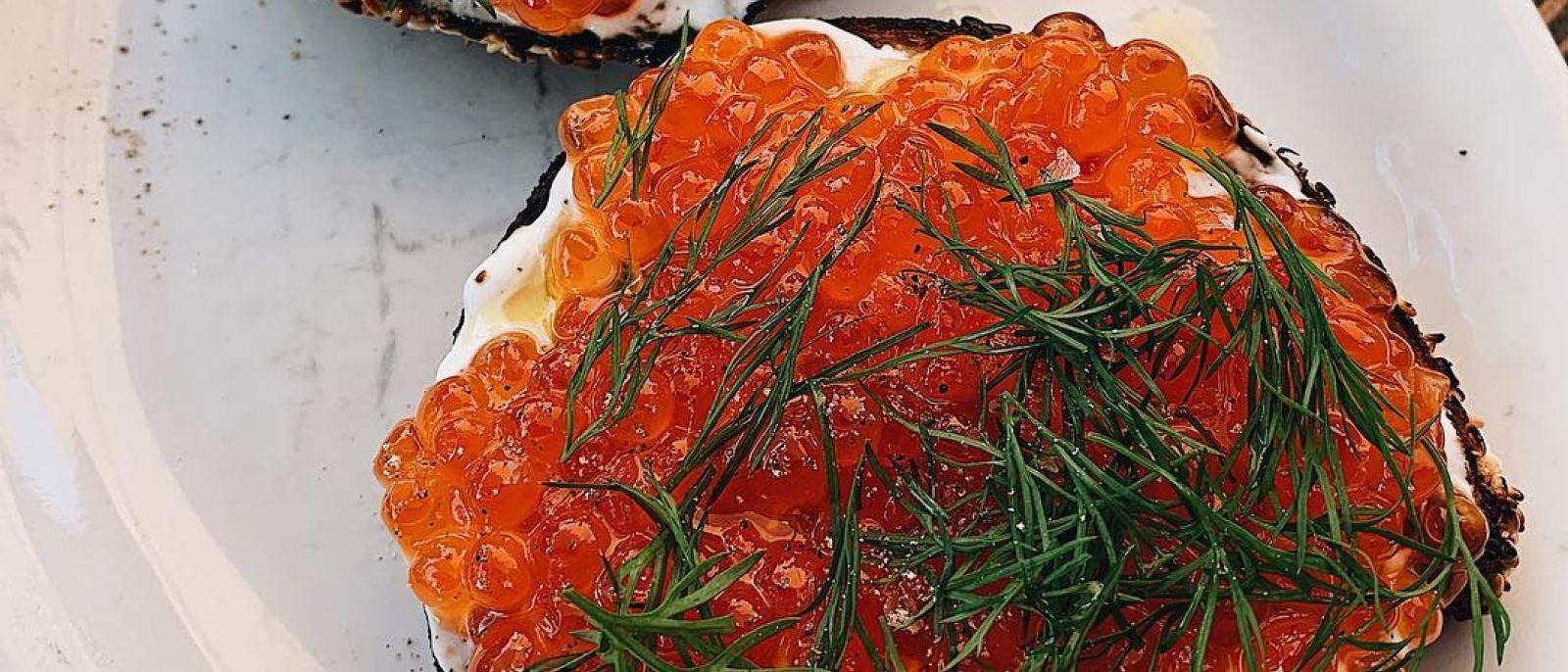 Salmon roe bagel at Gjusta