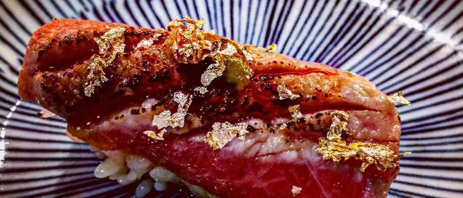 Seared bluefin toro with gold flakes at Okumura Restaurant in Encino