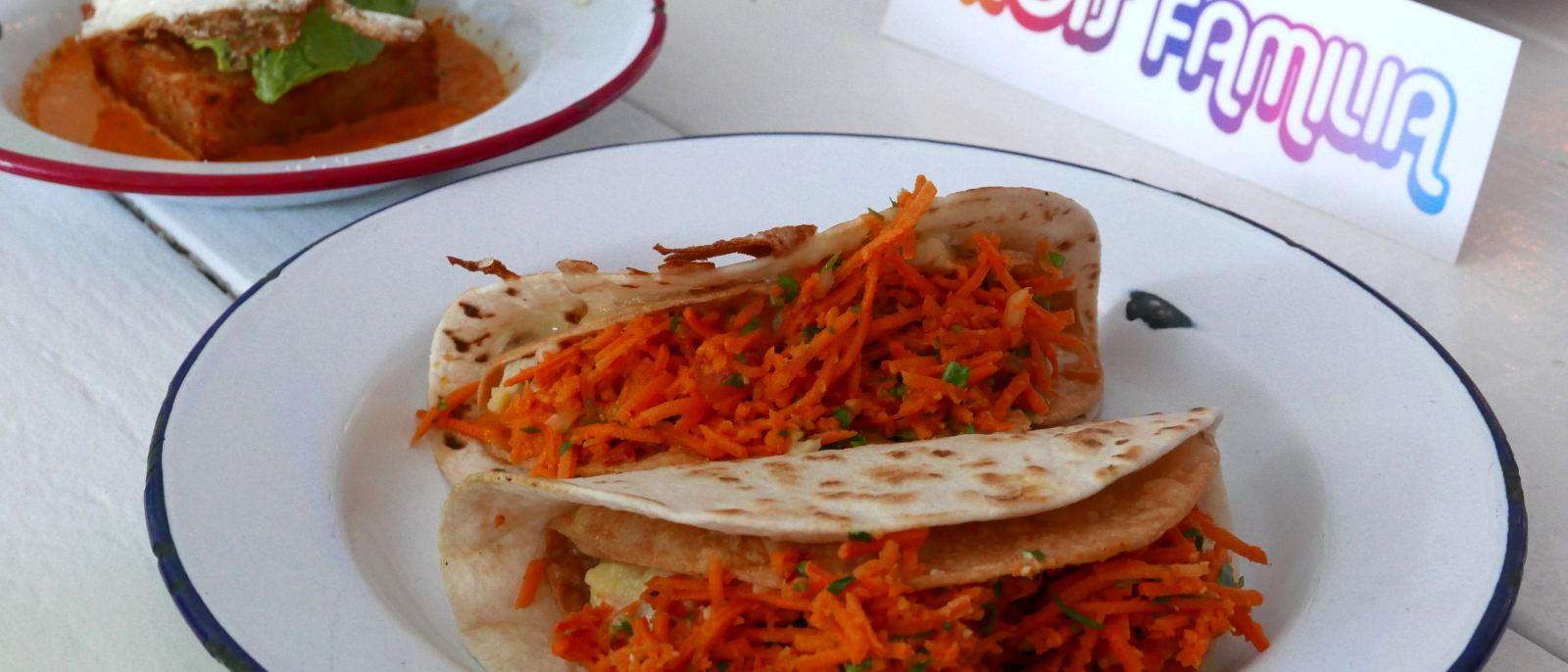 Double Decker Potato Tacos at Trois Familia