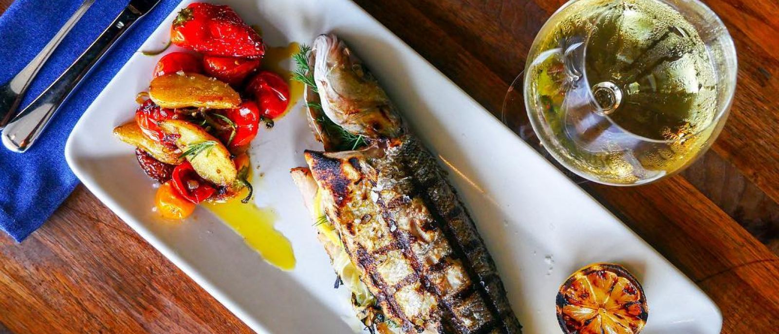 Whole grilled branzino at Good Measure in Atwater Village