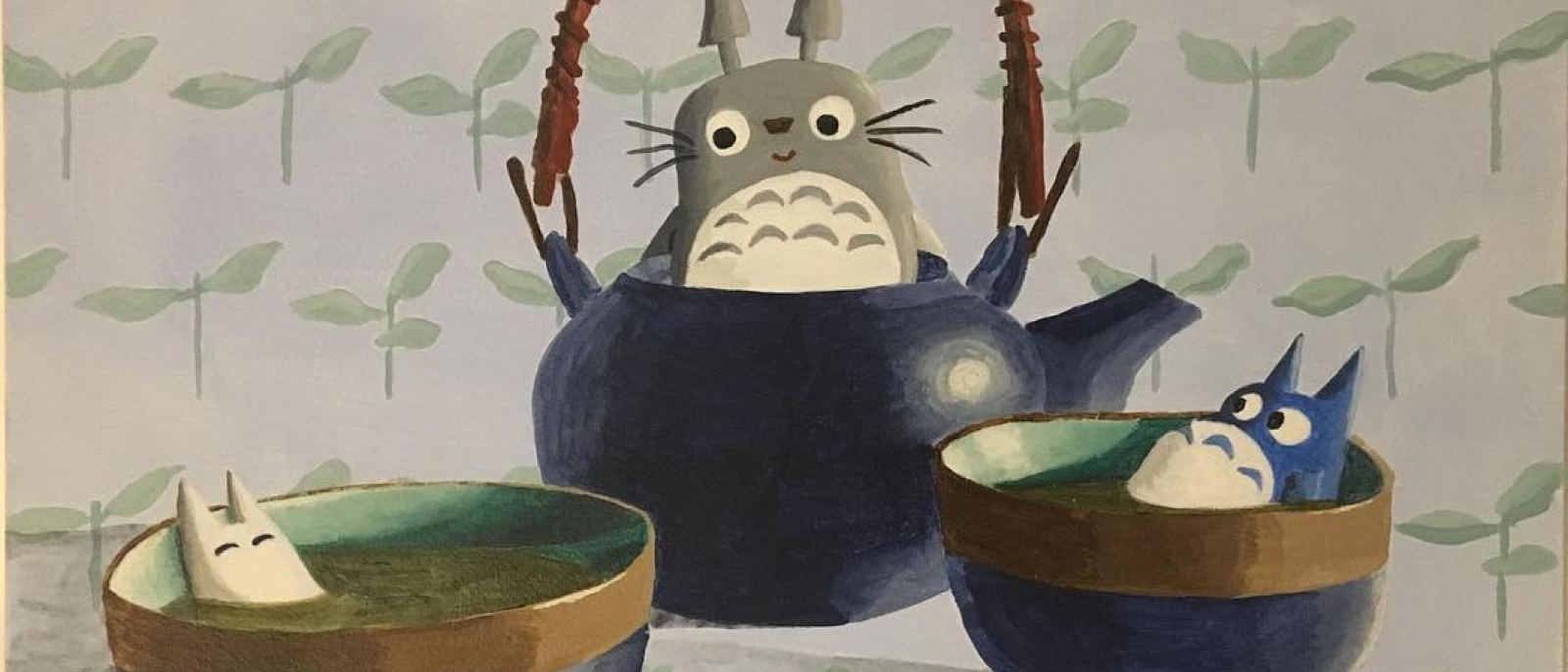 Totoro Tea painting by Nikki Longfish at Giant Robot