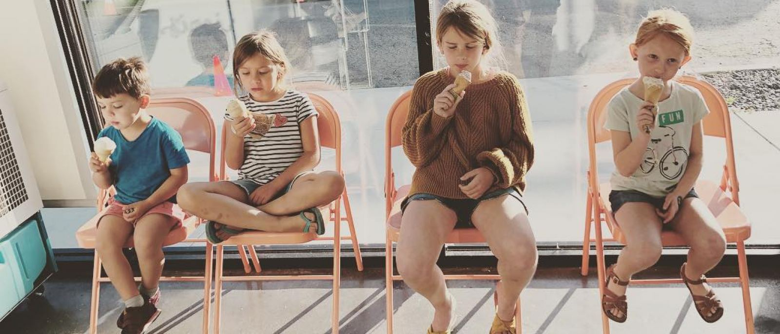 Kids enjoying Jeni's Splendid Ice Creams in Venice