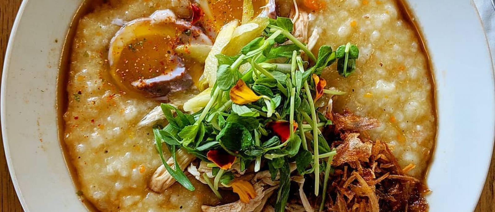 Poultry + Mushroom Porridge at porridge + puffs in Historic Filipinotown