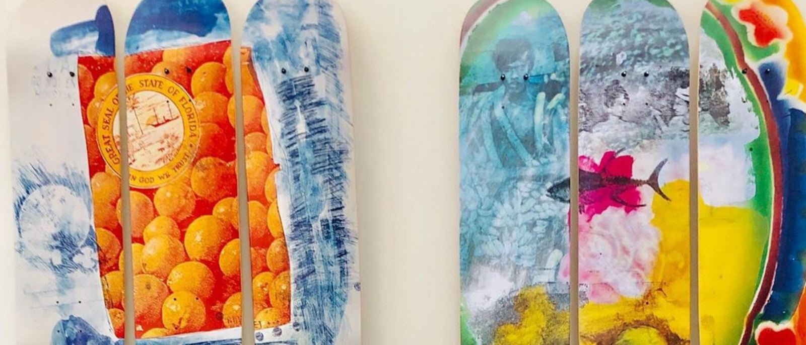 """Skate decks with details from Robert Rauschenberg's """"The 1/4 Mile"""" at LACMA Store"""