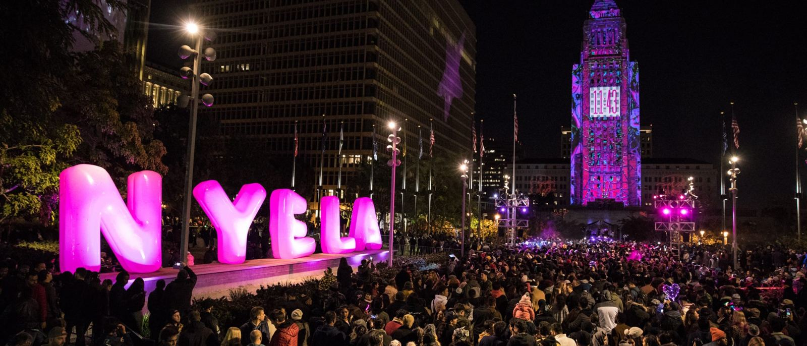 Countdown at N.Y.E.L.A. in Grand Park