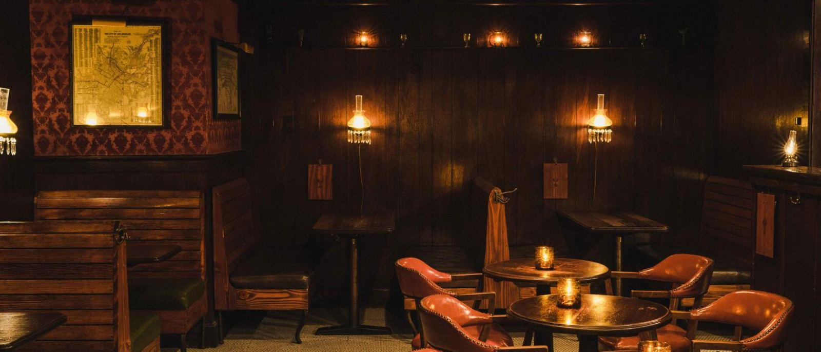 Booths and tables at The Varnish in Downtown LA