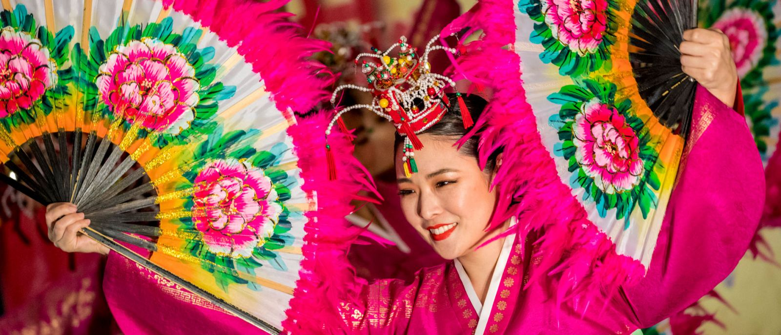 Korean fan dancer performs in the Lunar New Year Festival at the Port of Los Angeles