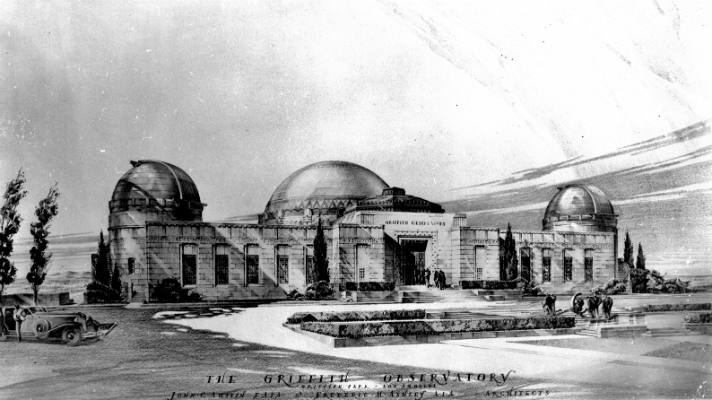 Detail of the final rendering of Griffith Observatory, for the architecture firm of John C. Austin and Frederick Ashley | Photo © Griffith Observatory