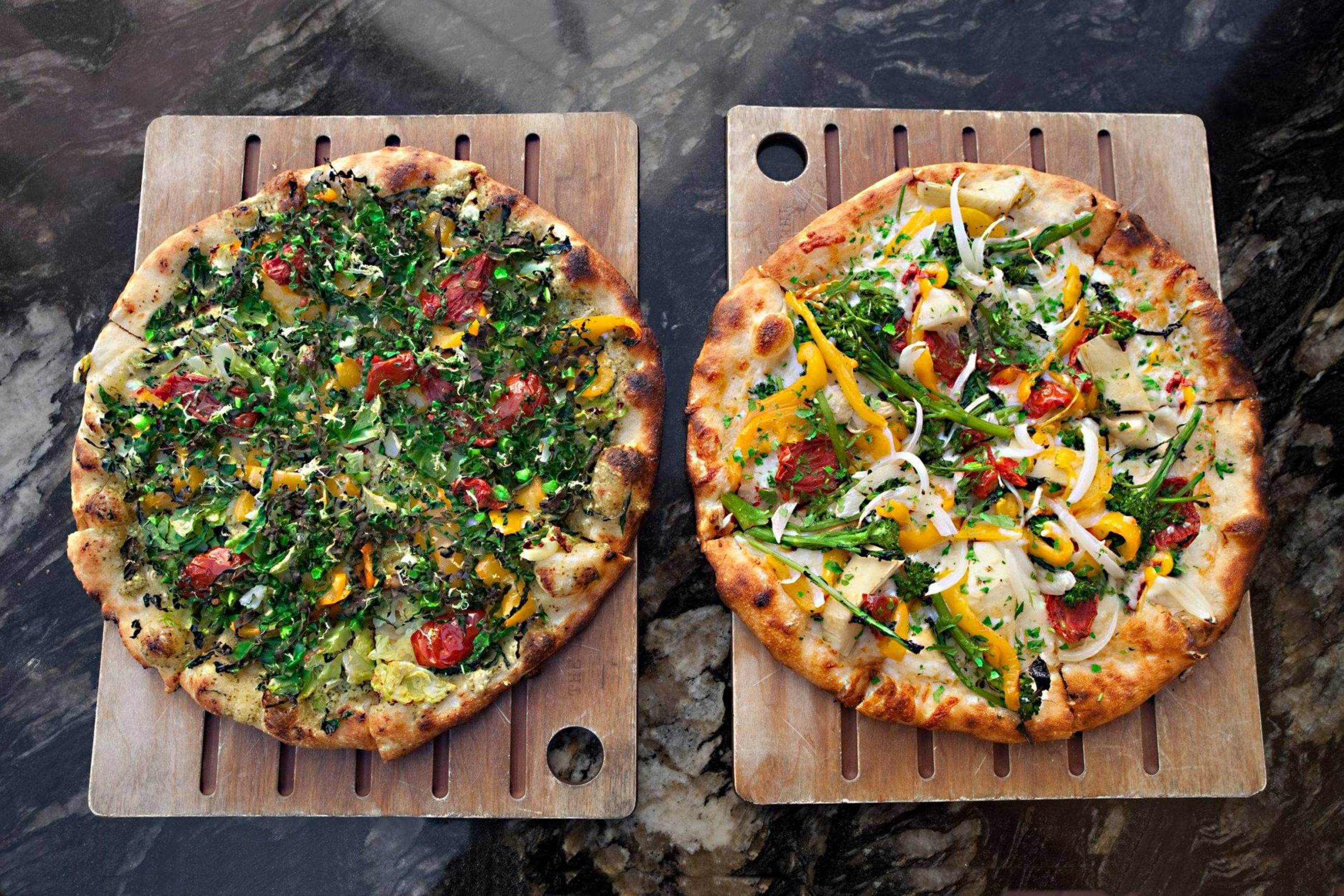 Vegan pizzas at The Luggage Room