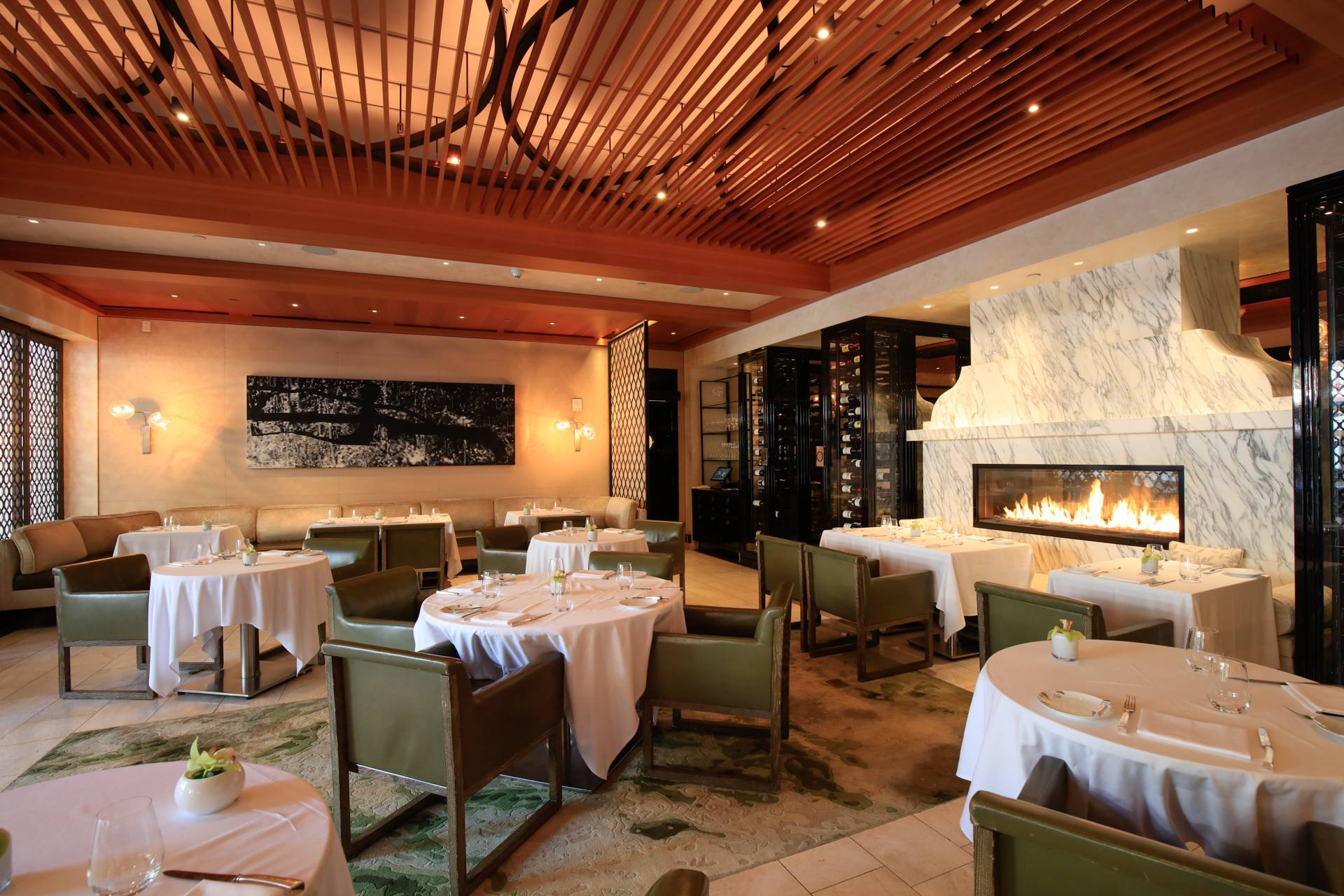 Wolfgang Puck at Hotel Bel-Air dining room and fireplace