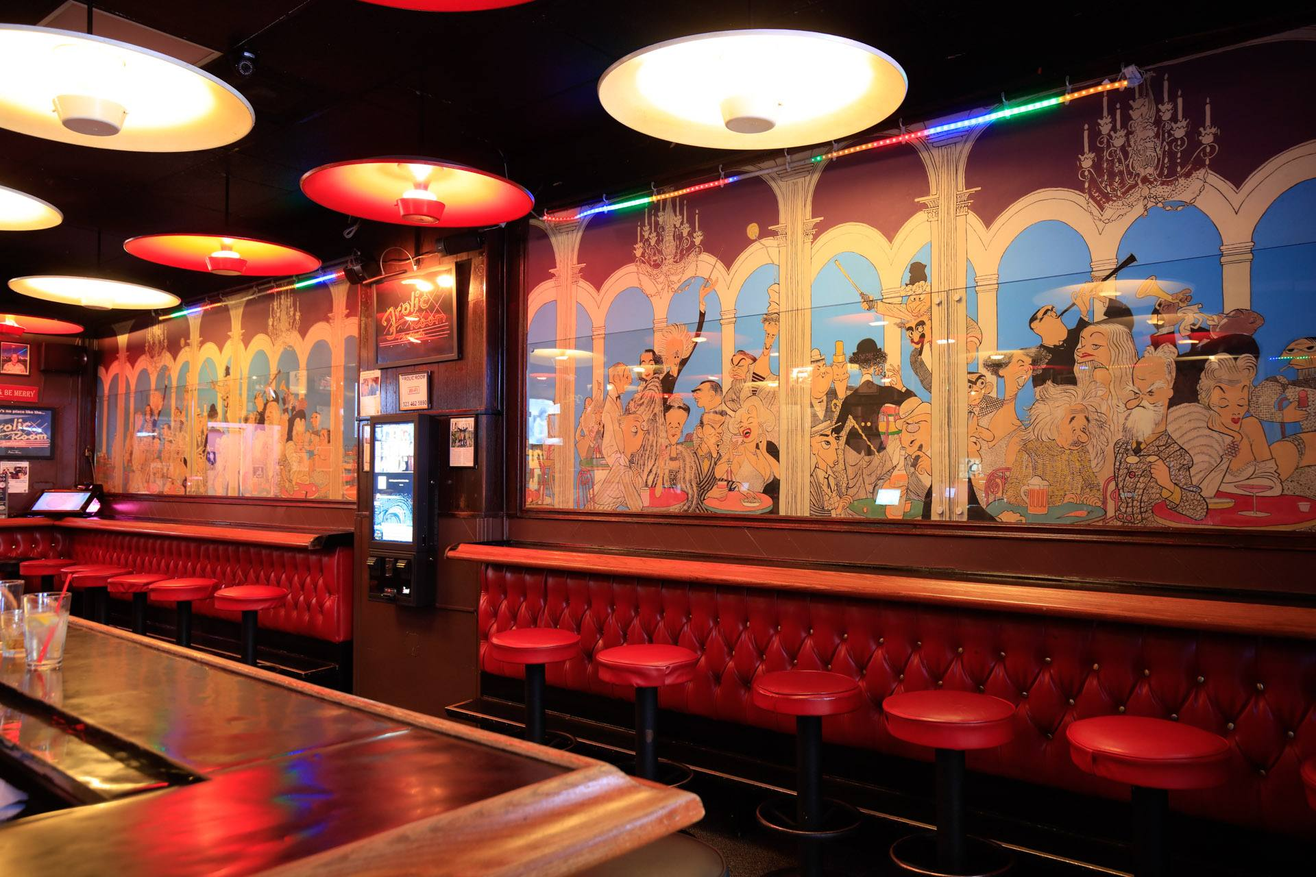 Hirschfeld's celebrated mural of celebrity caricatures inside the Frolic Room