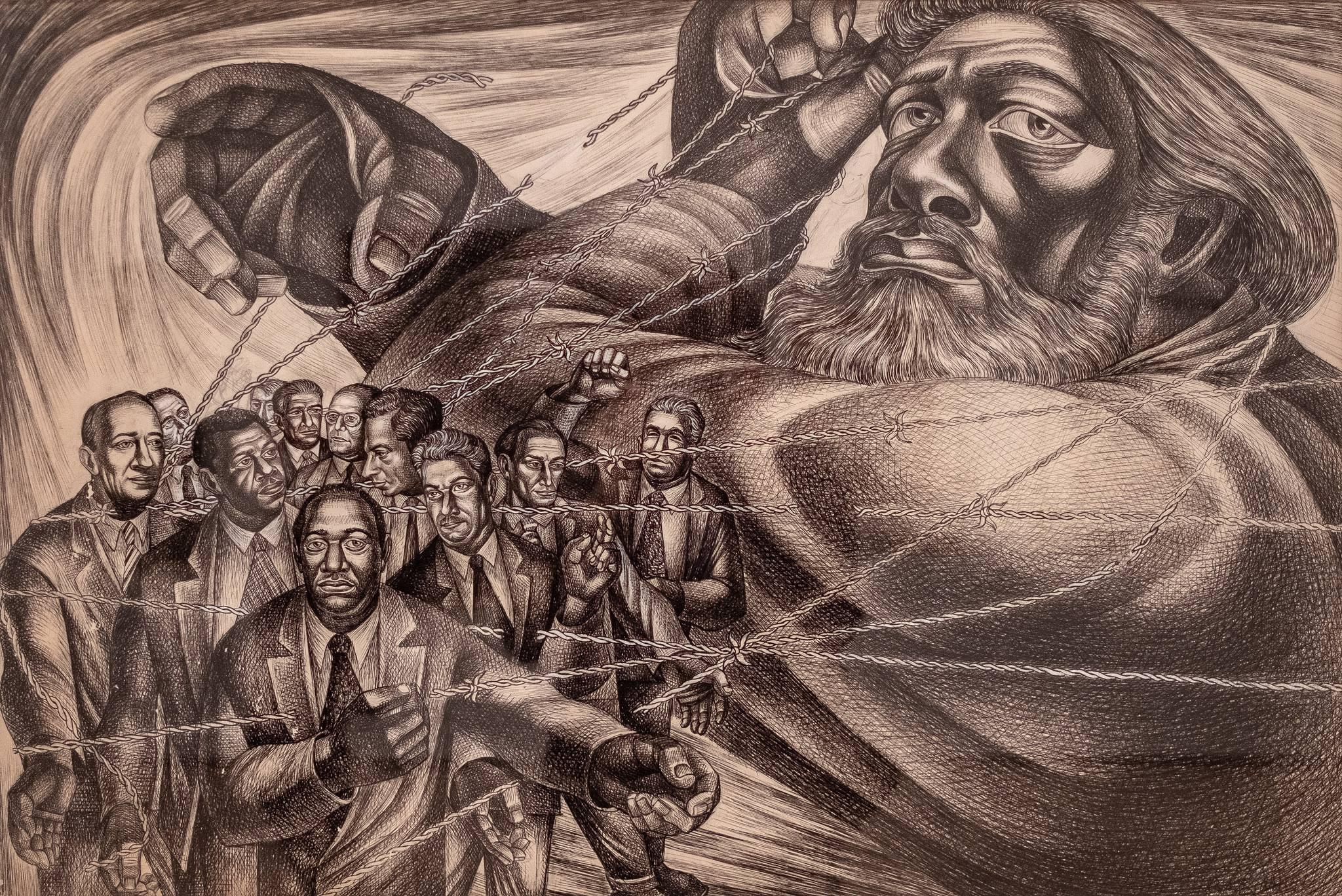 "Charles White, ""Frederick Douglass Lives Again (The Ghost of Frederick Douglass II)"""