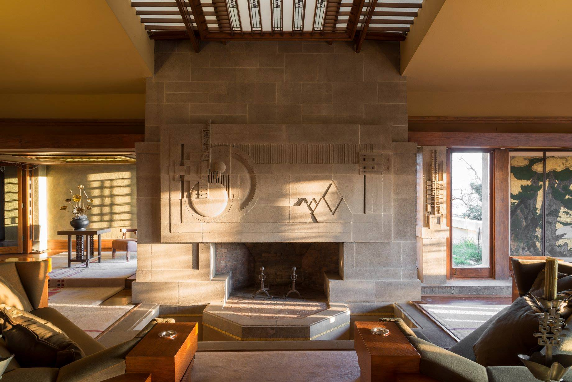 Fireplace at the Hollyhock House