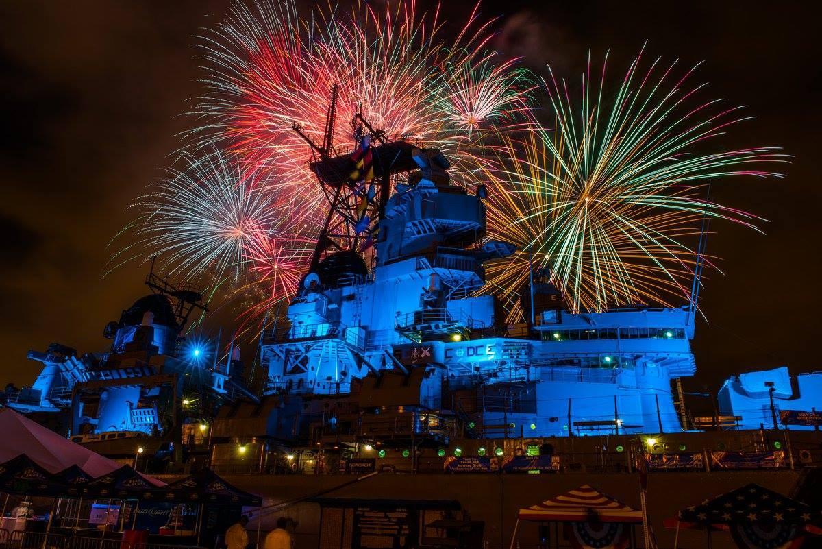 Fireworks at Battleship IOWA during LA Fleet Week in San Pedro
