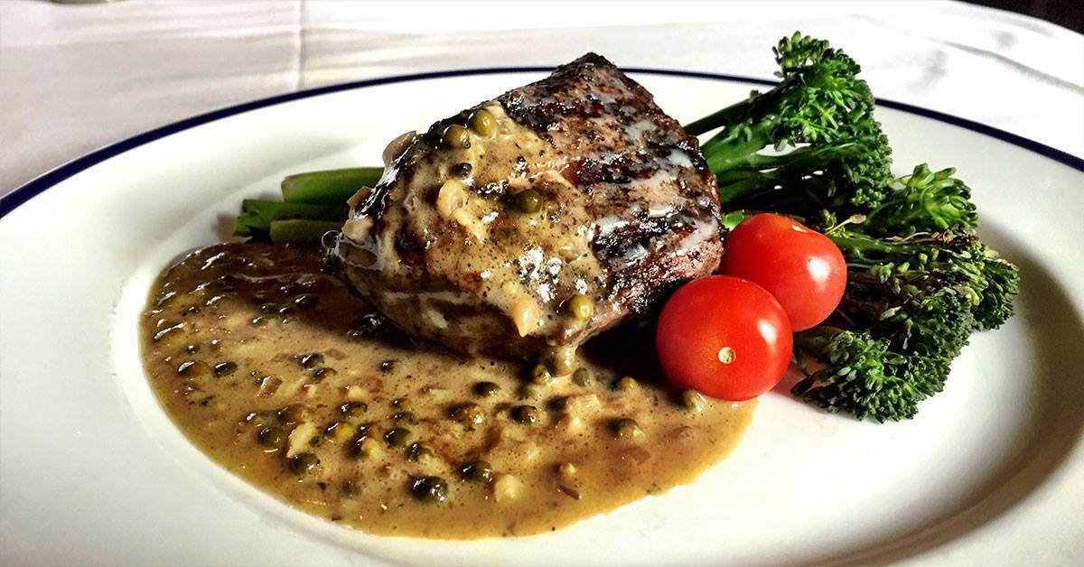 Steak Au Poivre at Pacific Dining Car