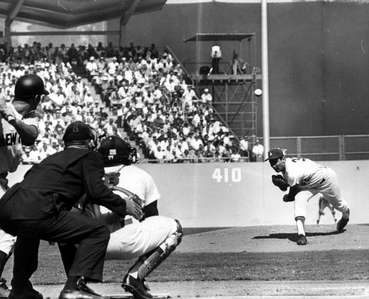 Sandy Koufax pitches in Game 4 of the 1963 World Series