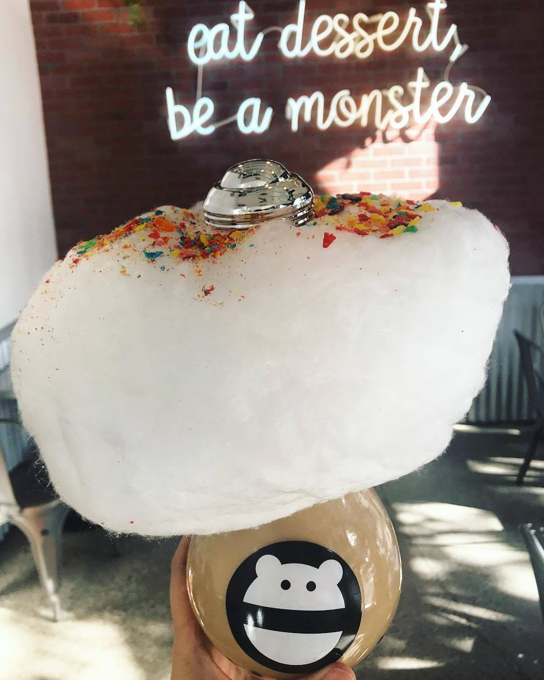 """Honey tea with boba and """"rainbow cloud"""" (cotton candy with fruity pebbles) at Snow Monster 