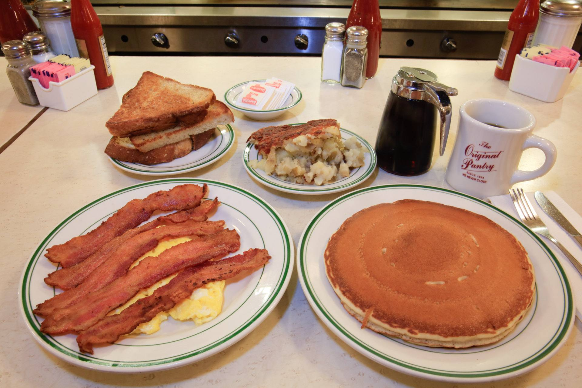 Pancakes, bacon & eggs at The Original Pantry