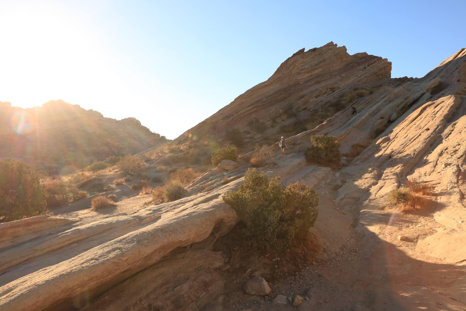 Sunset hiker at Vasquez Rocks Natural Area