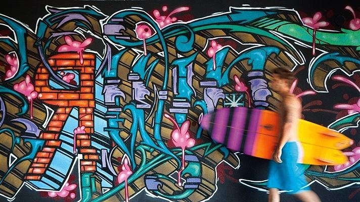 Pared de Grafitti en el Hotel Erwin