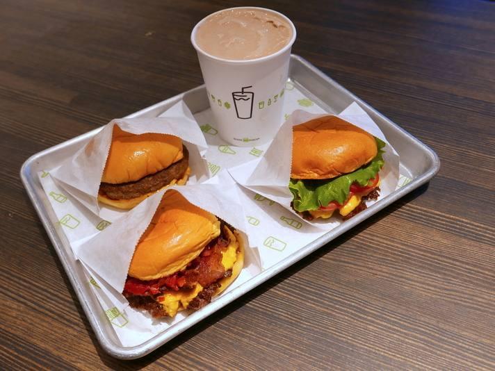 Burgers and shake at Shake Shack LAX Terminal 3