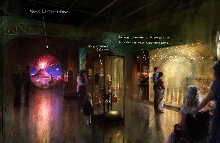 """Academy Museum of Motion Pictures, Where Dreams Are Made: A Journey Inside the Movies, concept illustration for """"Magic and Motion"""" gallery. ©Academy Museum Foundation/Gallery Design, Rick Carter + Gallagher & Associates, Artist Illustration, Erik Tiemens"""