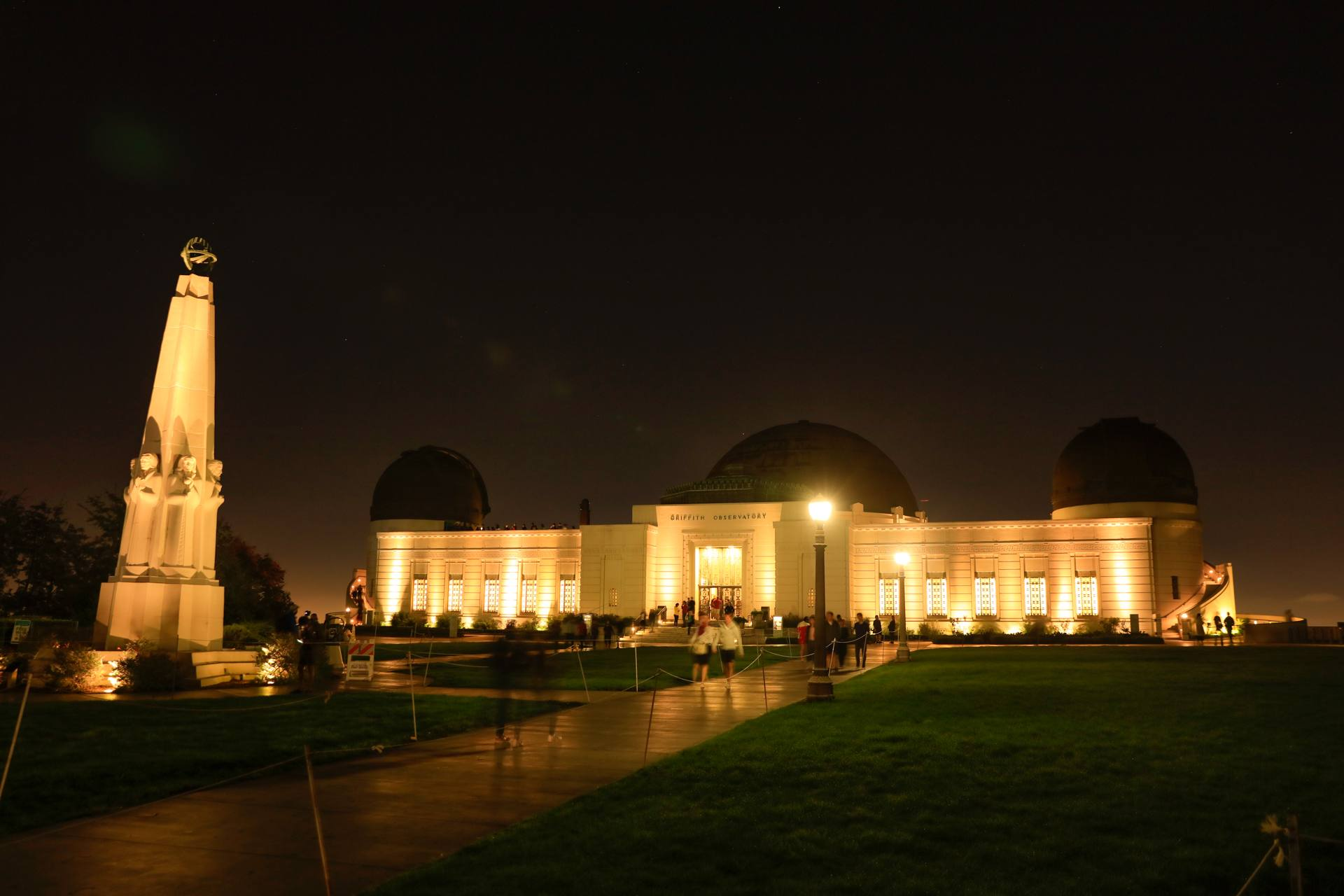 Griffith Observatory Astronomers Monument Night