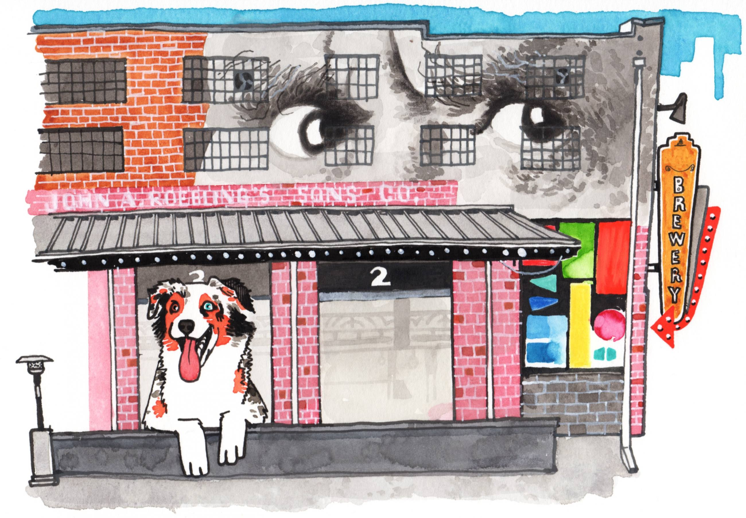 Australian Shepherd in the Arts District | Illustration by Max Kornell