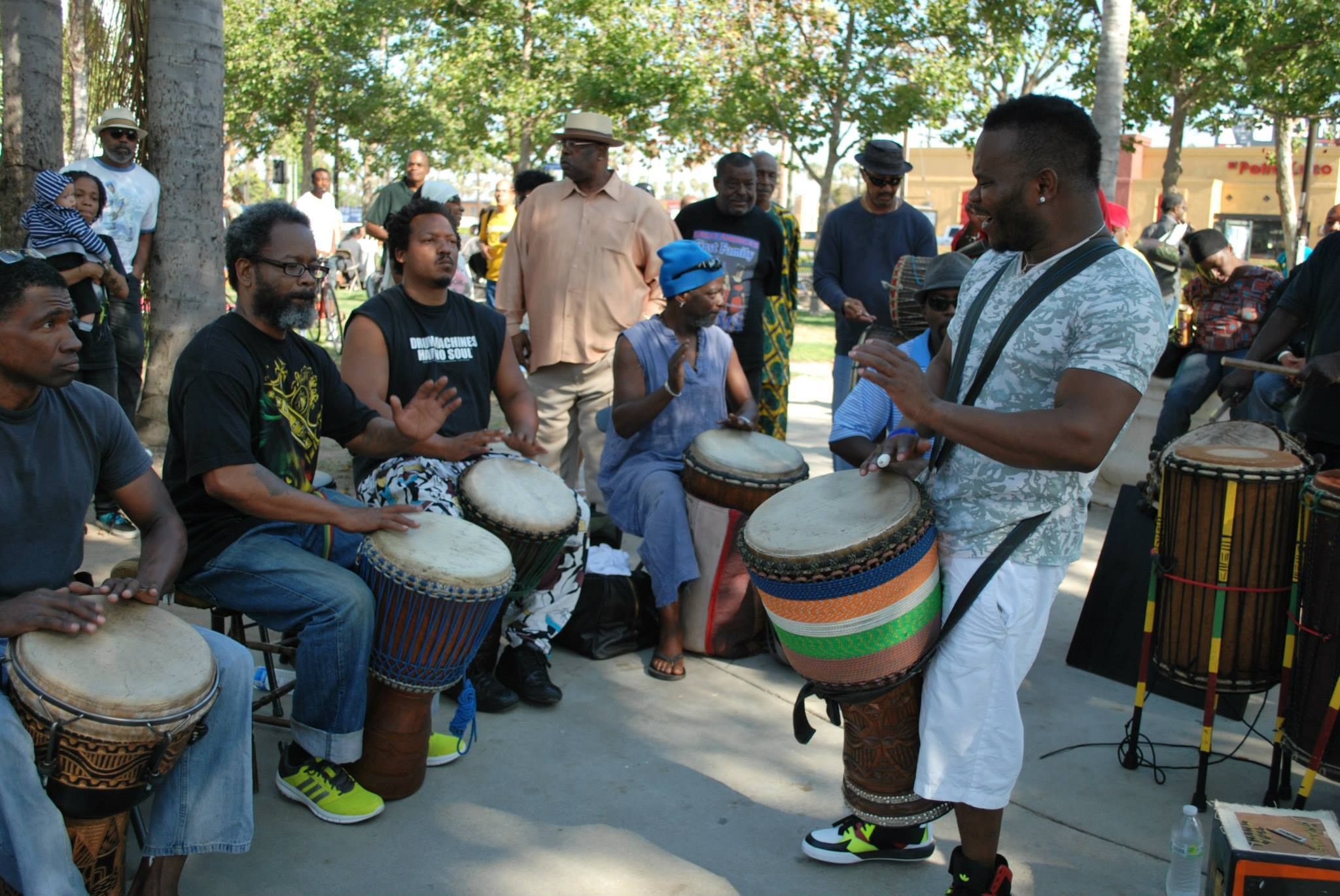 The famous drum circle at Leimert Plaza Park