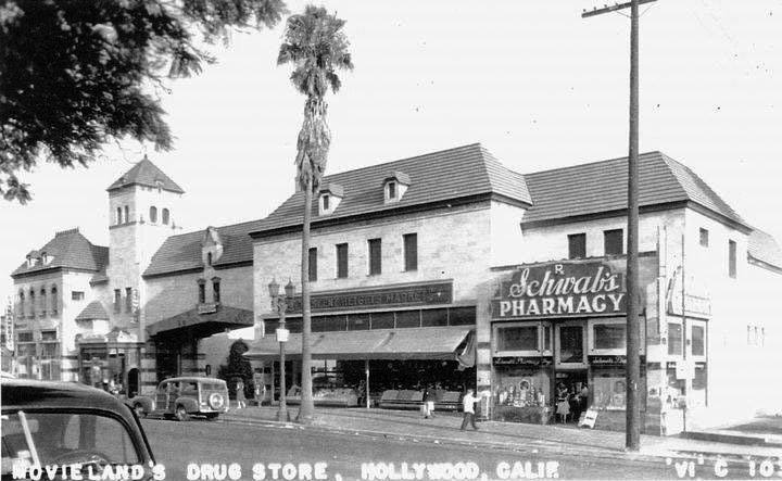 1940s postcard with Schwab's Pharmacy