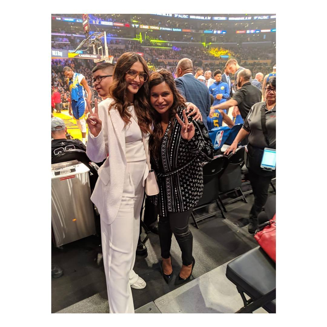 Sonam Kapoor and Mindy Kaling at STAPLES Center