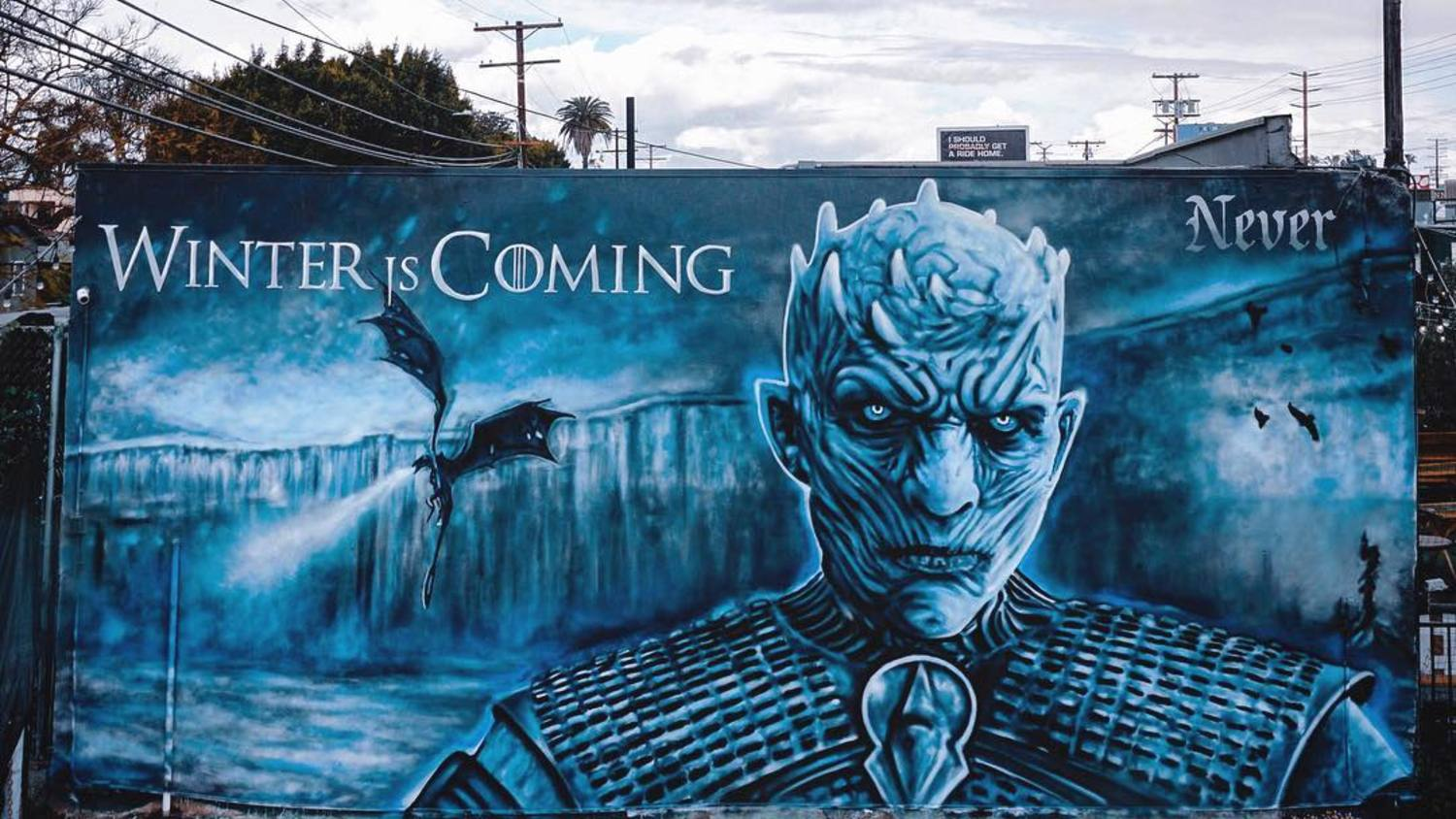 Game of Thrones Night King mural by Jonas Never at Brennan's