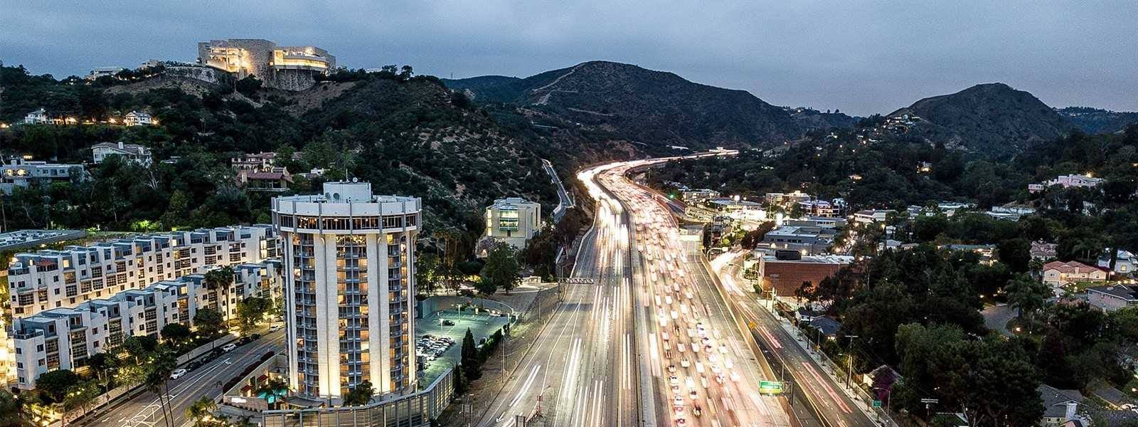 Aerial view of Hotel Angeleno and the 405 Freeway | Photo: Hotel Angeleno
