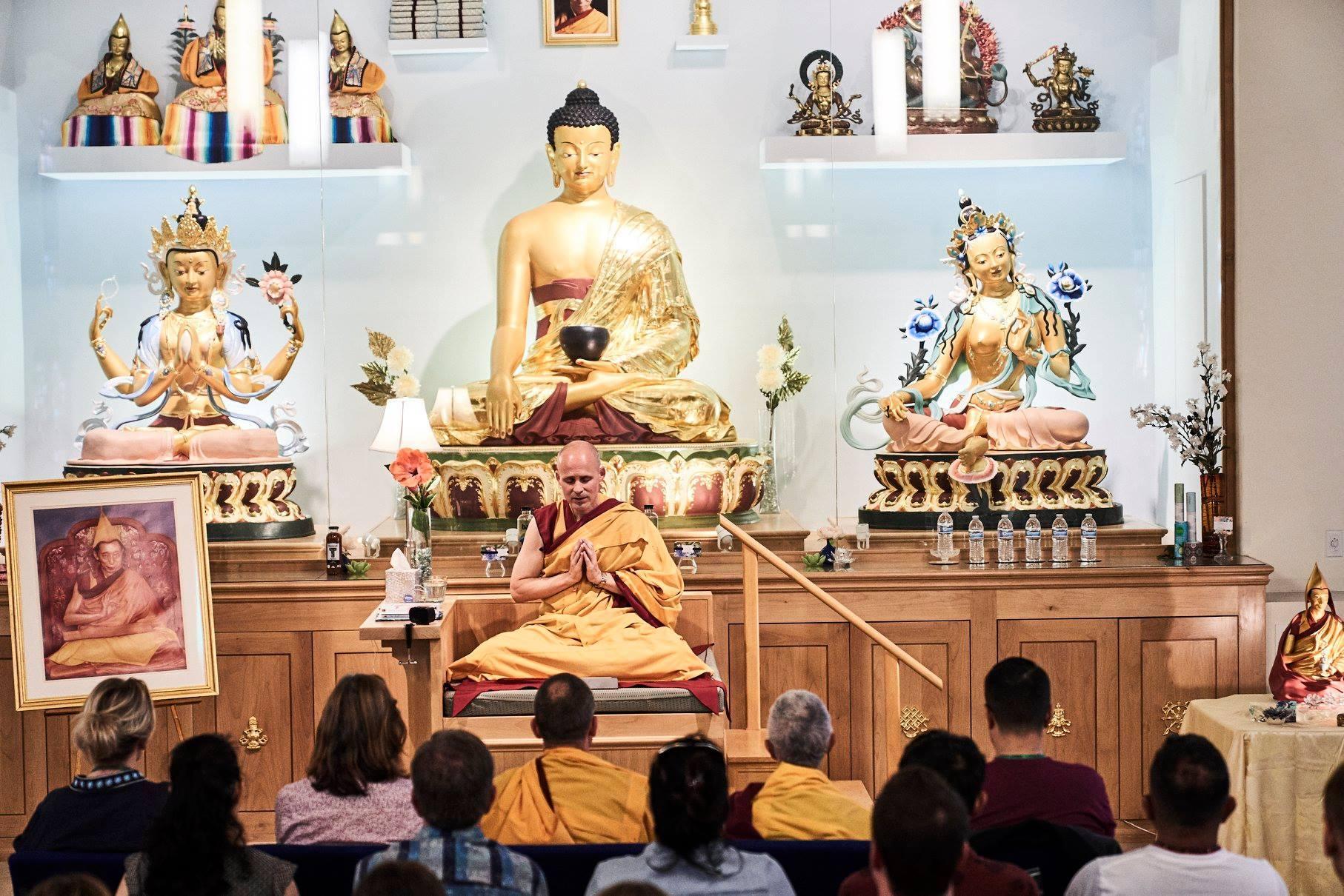 Gen-la Jampa in prayer at Kadampa Meditation Center Hollywood