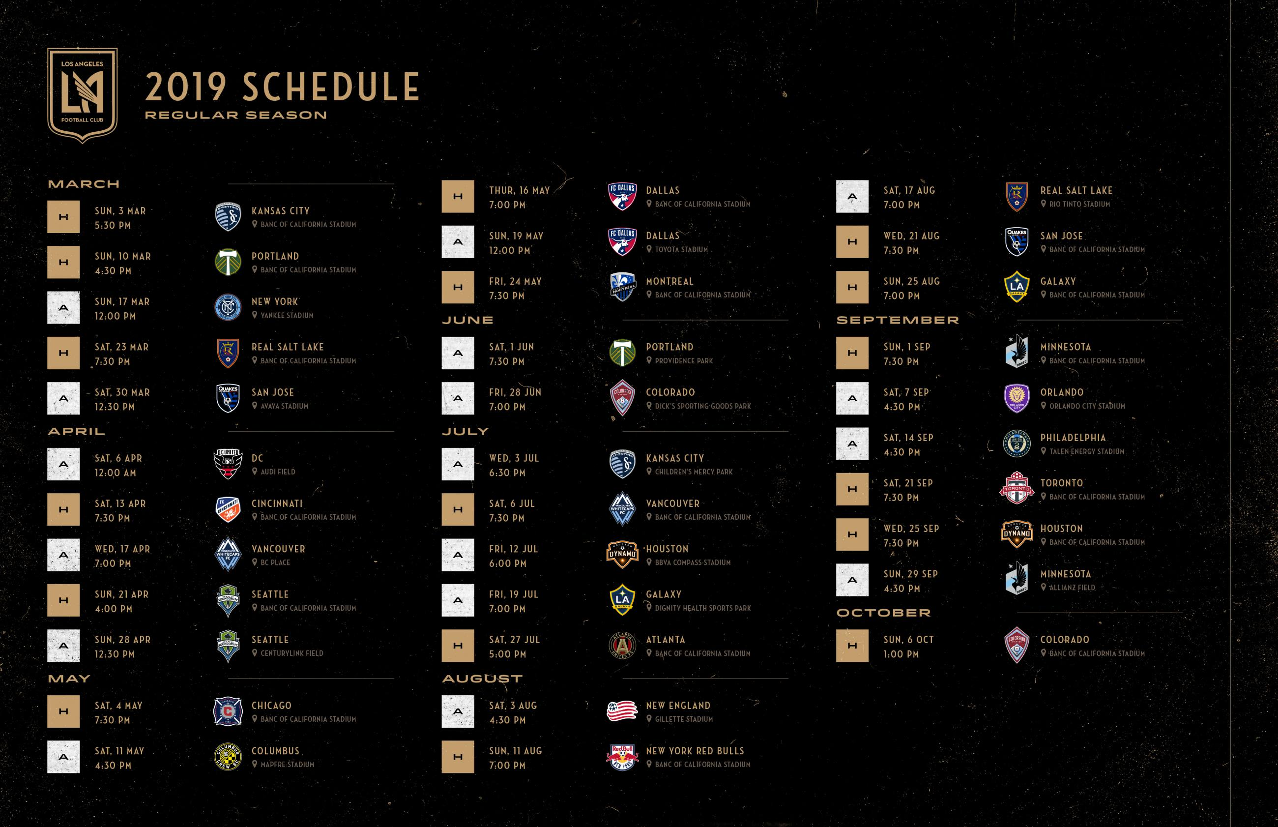 LAFC 2019 Regular Season Schedule