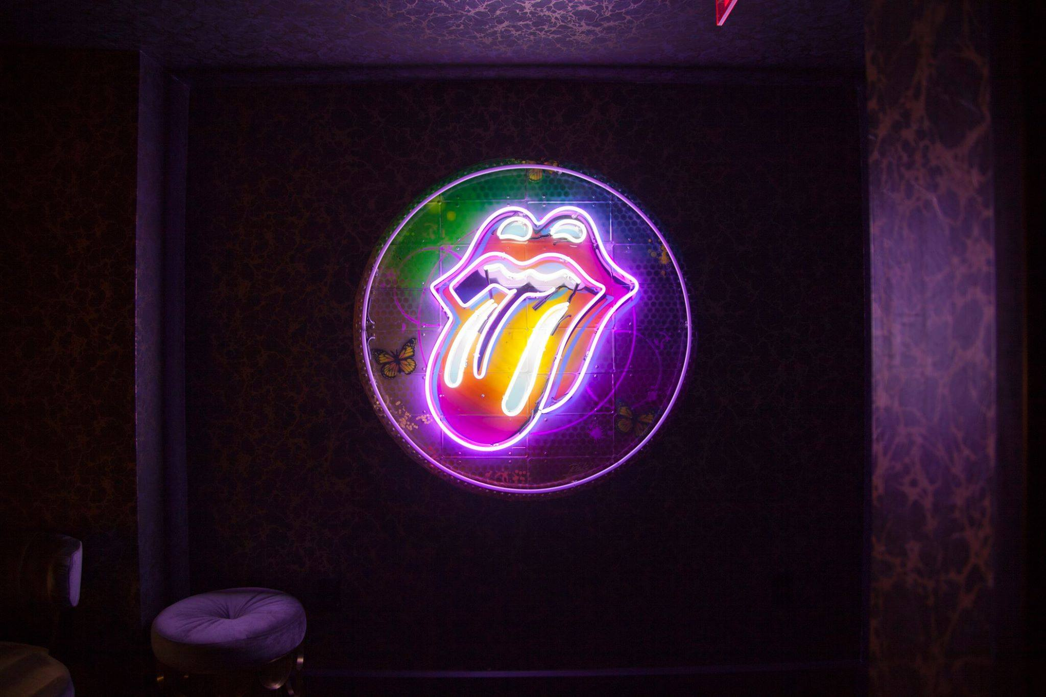 Rolling Stones neon art by RISK at The Mayfair Hotel