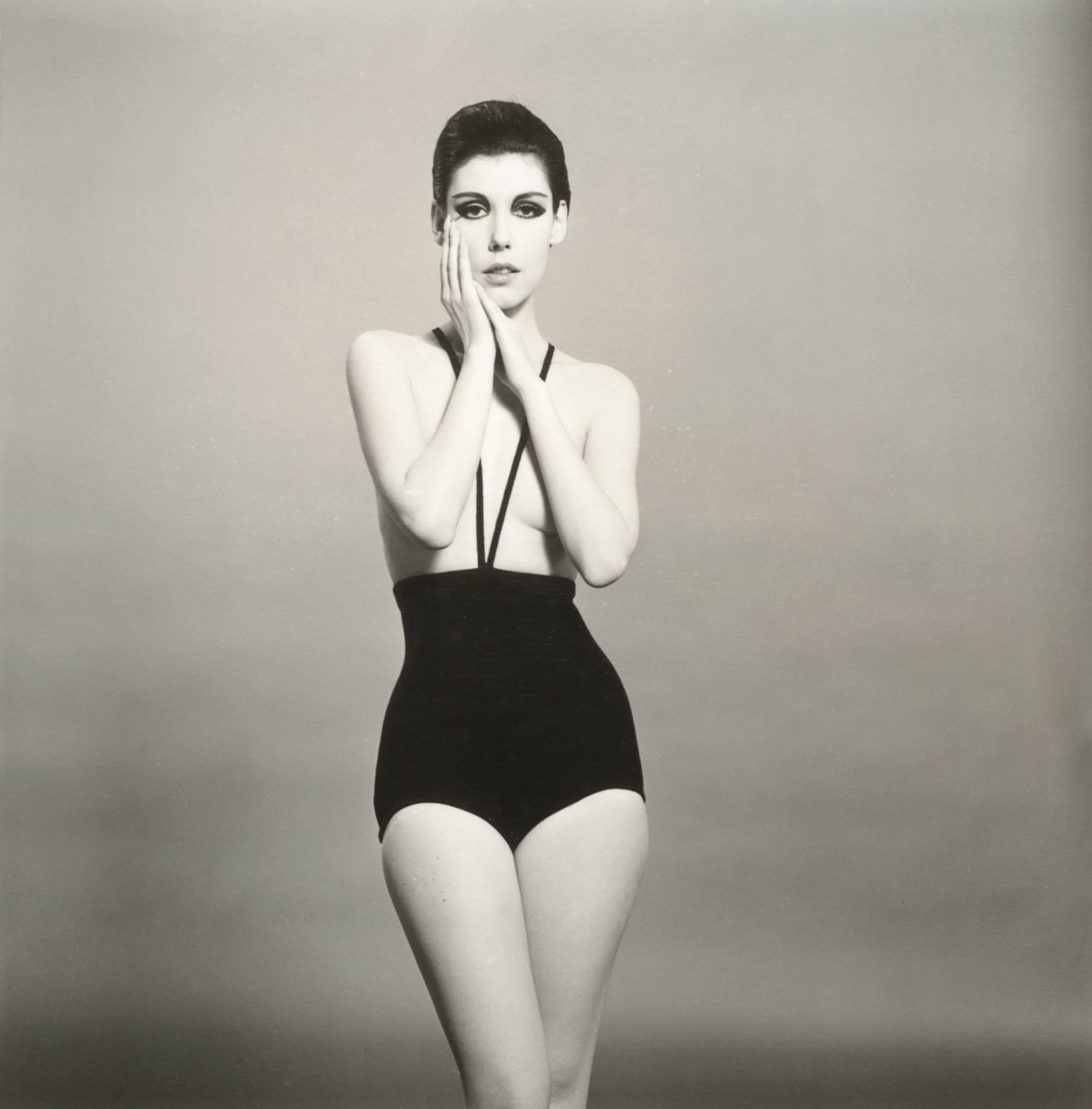 Peggy Moffitt modeling the topless bathing suit, 1964
