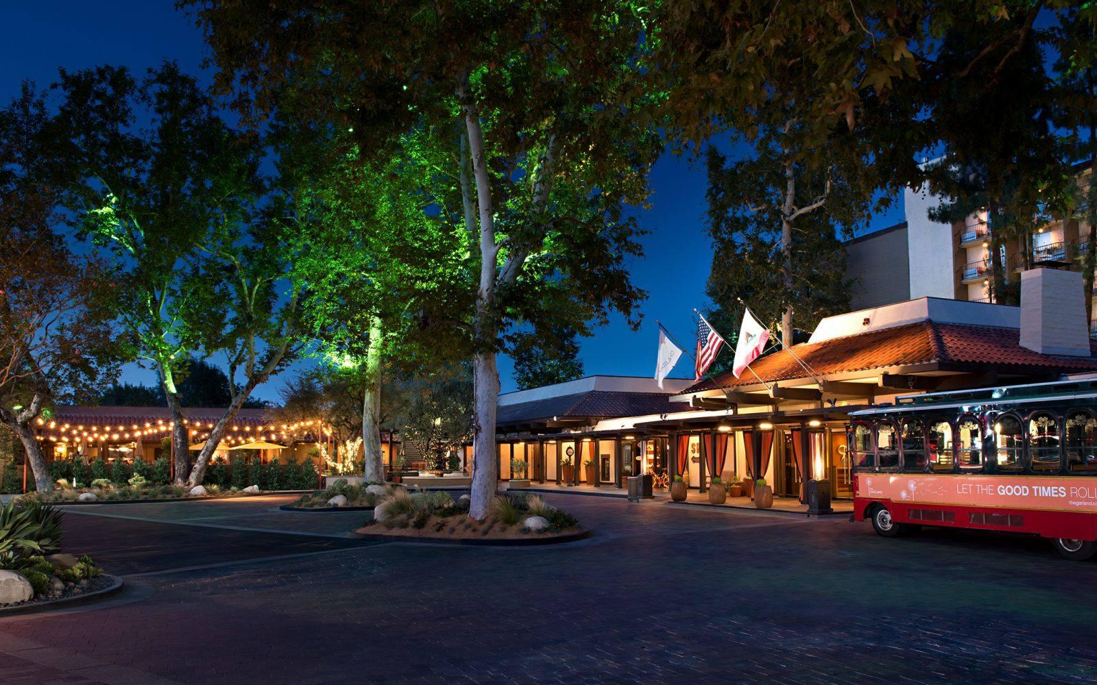 The Garland hotel entrance at night