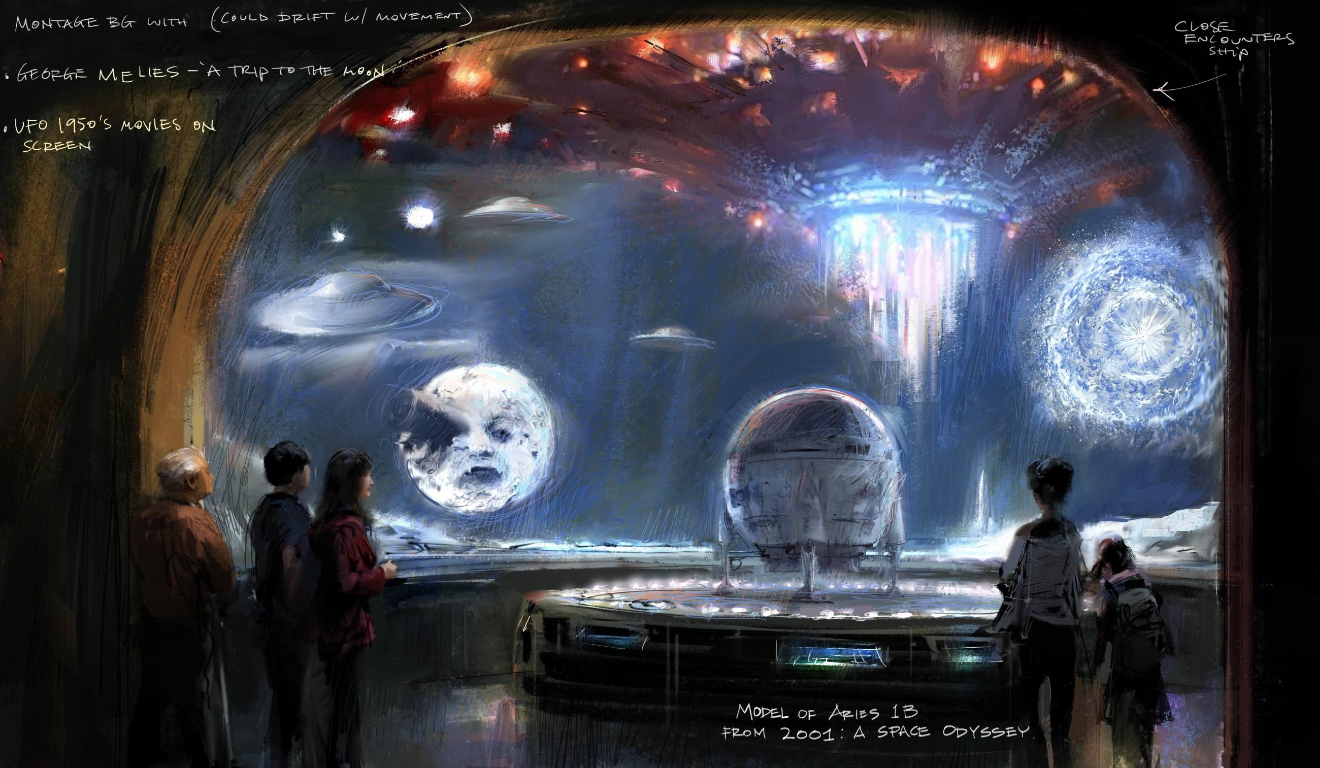 """Ilustración conceptual de la galería de Imaginary Worlds para la exhibición """"Donde los Sueños se Hacen"""" en el Museo de la Academia."""