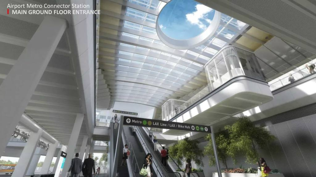 Airport Metro Connector Station main entrance | Rendering courtesy of Metro