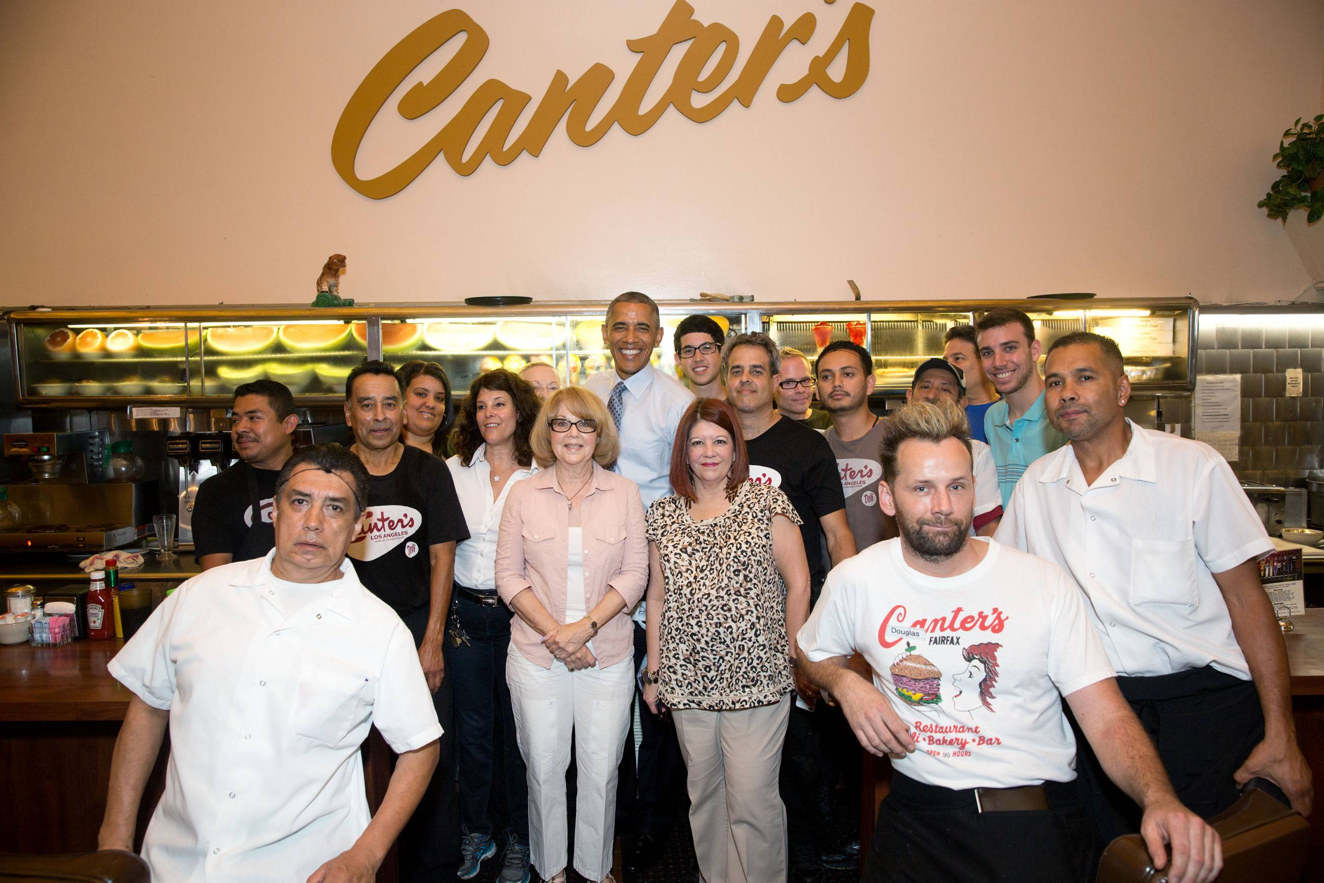 President Barack Obama Canter's Deli group photo