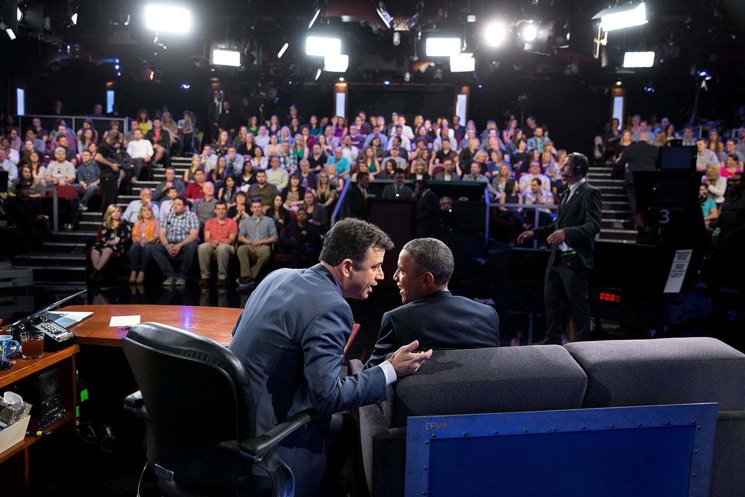 "President Barack Obama and Jimmy Kimmel on the set of ""Jimmy Kimmel Live!"""