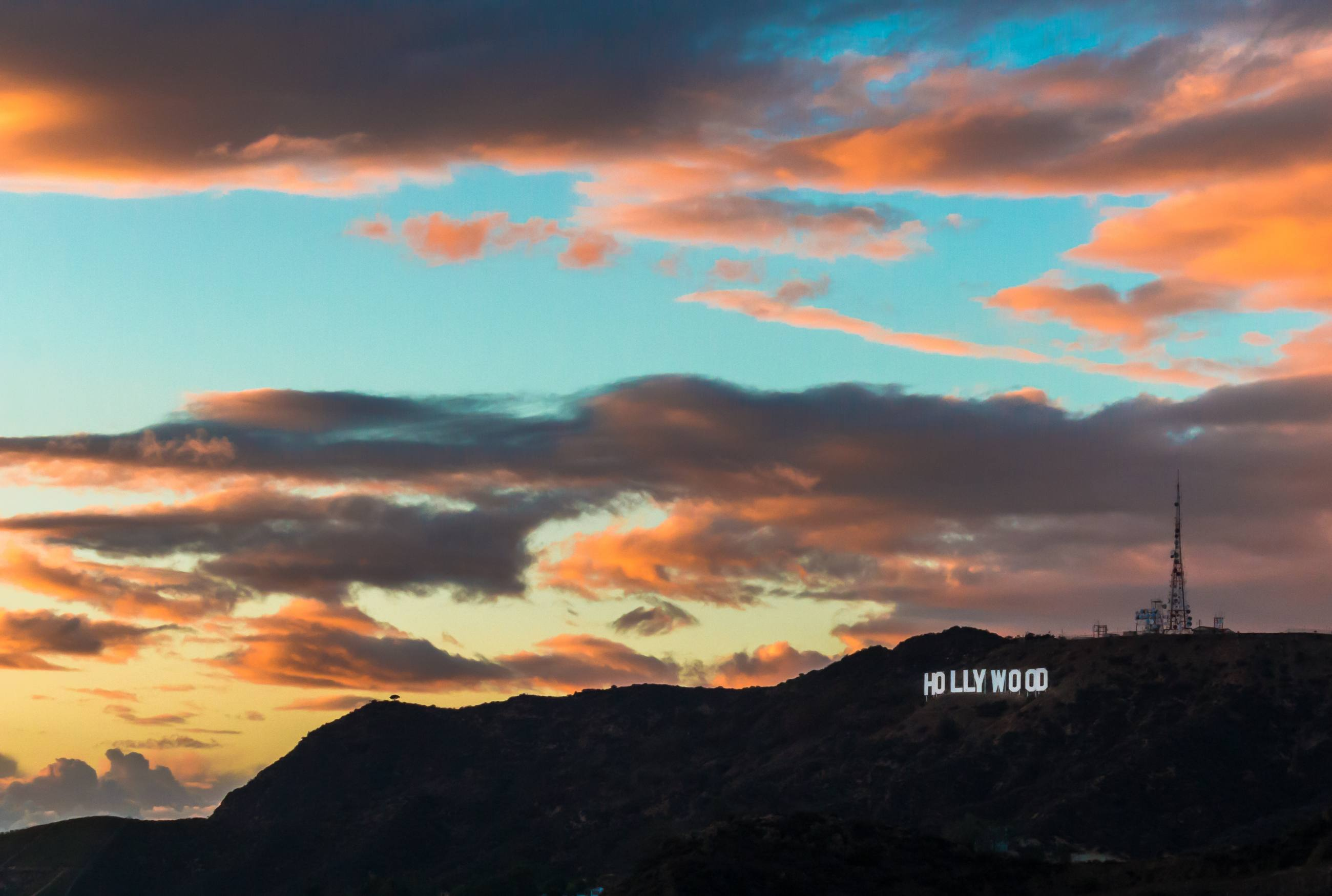 Hollywood Sign viewed from Griffith Observatory at sunset