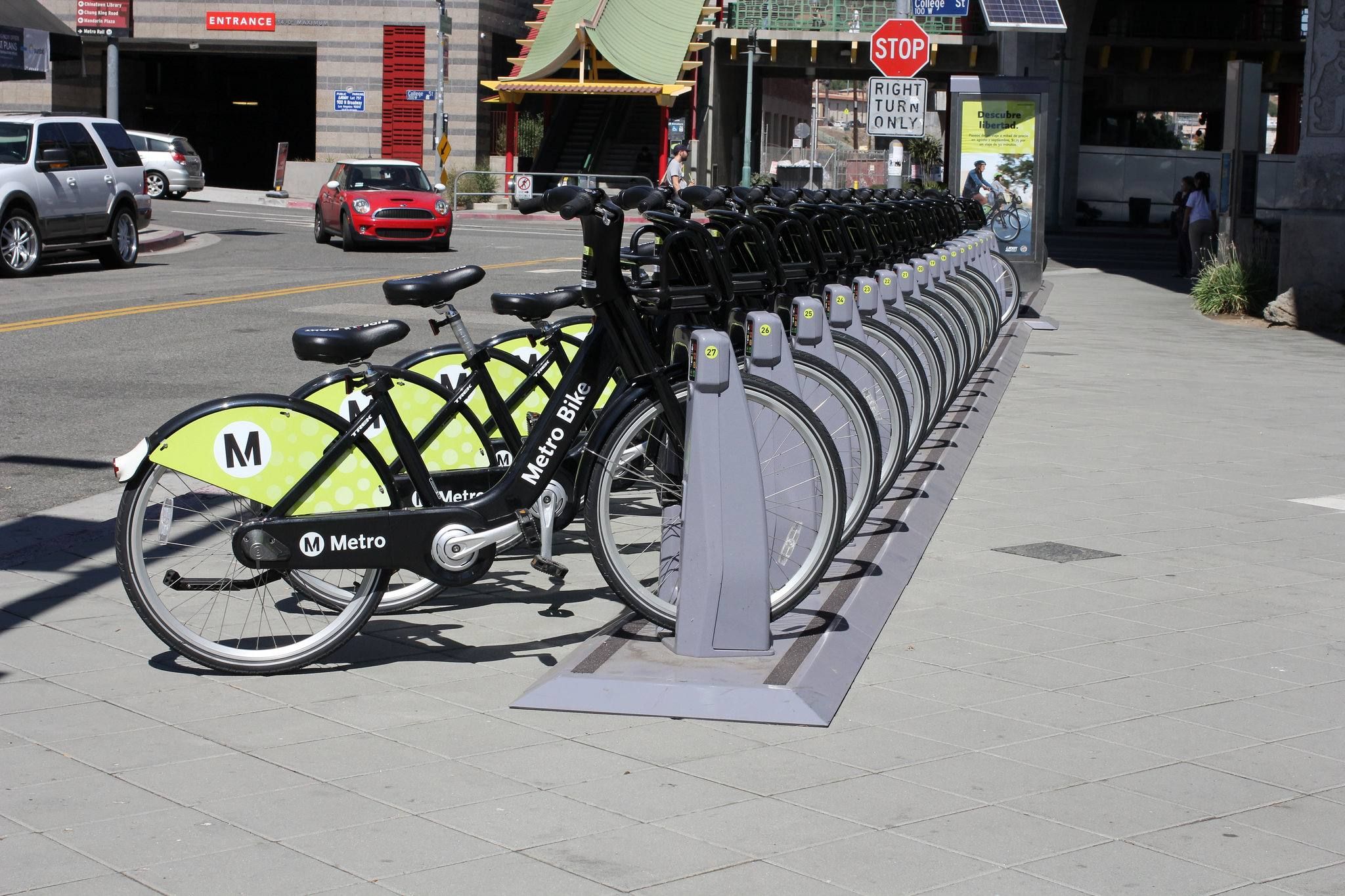 Metro Bike Share at the Gold Line Chinatown station