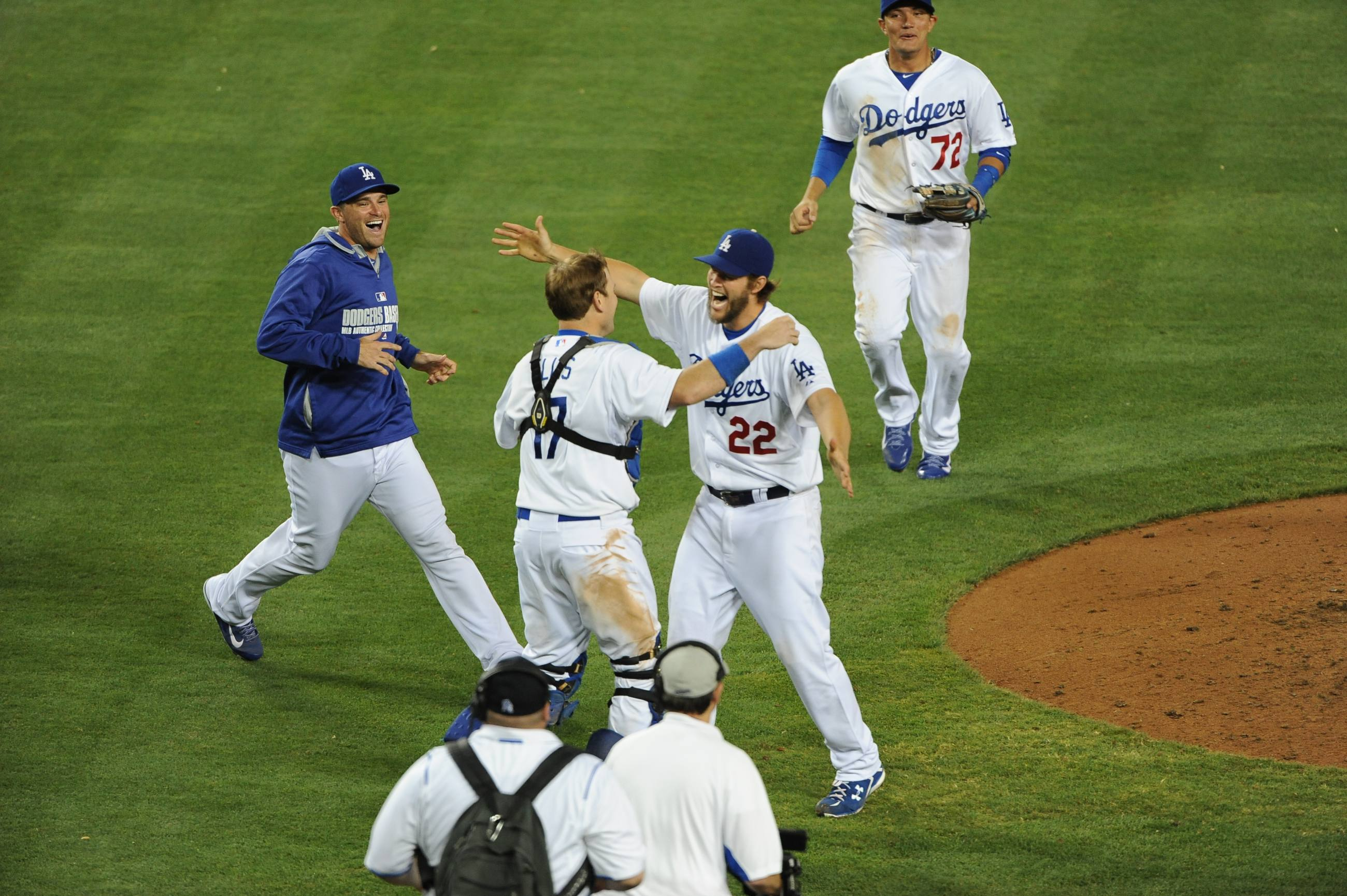 The Dodgers celebrate Clayton Kershaw's no-hitter at Dodger Stadium on June 18, 2014